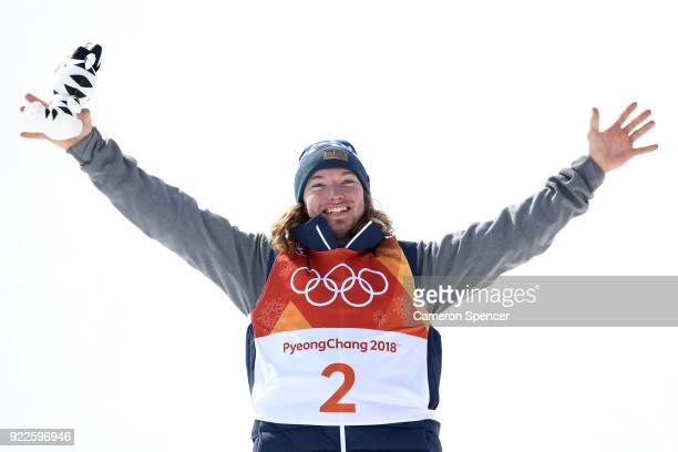 David Wise of the United States celebrates after winning gold during the Freestyle Skiing Men's Ski Halfpipe Final on day thirteen of the PyeongChang...