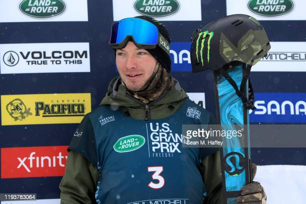 David Wise of the United States celebrates on the podium after finishing second place in the Men's Freeskiing Halfpipe Final on December 13, 2019 in...
