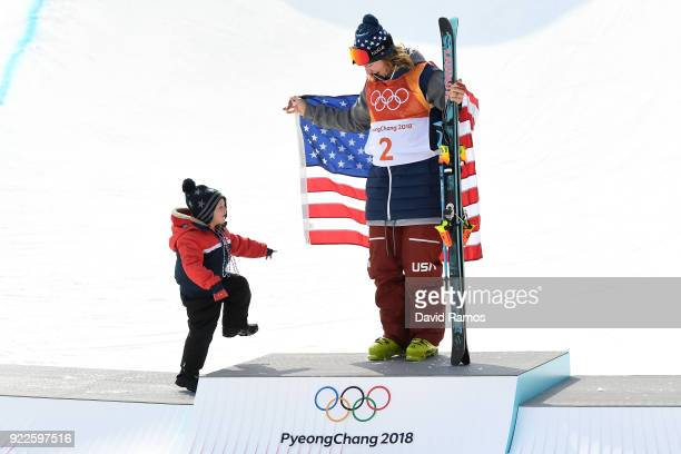 David Wise of the United States celebrates with his family after winning gold in the Freestyle Skiing Men's Ski Halfpipe Final on day thirteen of the...