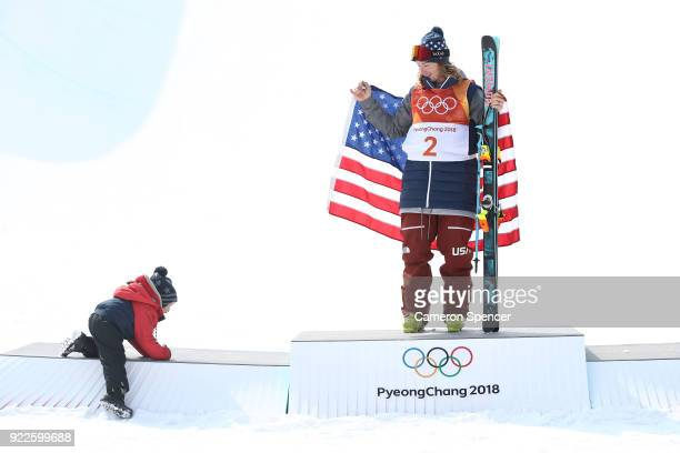 David Wise of the United States celebrates with his son Malachi after winning gold in the Freestyle Skiing Men's Ski Halfpipe Final on day thirteen...