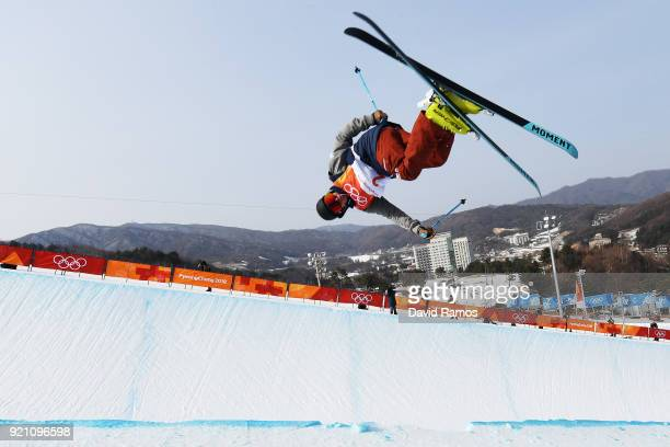 David Wise of the United States competes during the Freestyle Skiing Men's Ski Halfpipe Qualification on day eleven of the PyeongChang 2018 Winter...