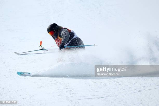 David Wise of the United States crashes during his run during the Freestyle Skiing Men's Ski Halfpipe Final on day thirteen of the PyeongChang 2018...