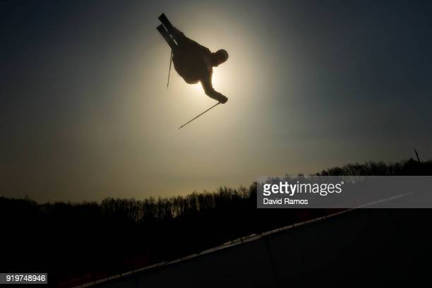 David Wise of the United States practices during a Freestyle Skiing Halfpipe training session on day nine of the PyeongChang 2018 Winter Olympic...