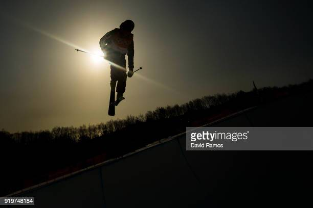 David Wise of the United States practices during the Freestyle Skiing Halfpipe training session on day nine of the PyeongChang 2018 Winter Olympic...