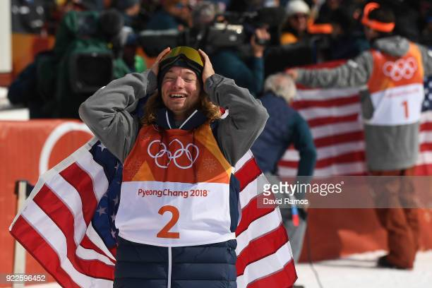 David Wise of the United States reacts after winning during the Freestyle Skiing Men's Ski Halfpipe Final on day thirteen of the PyeongChang 2018...