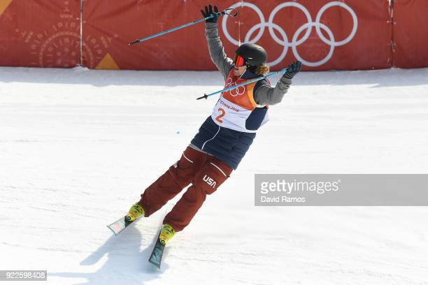 David Wise of the United States reacts to his final run during the Freestyle Skiing Men's Ski Halfpipe Final on day thirteen of the PyeongChang 2018...