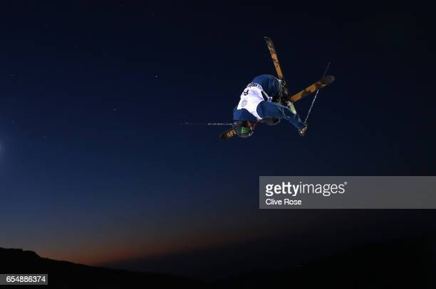 David Wise of the United States warms up prior to the Final of the Men's Halfpipe on day eleven of FIS Freestyle Ski Snowboard World Championships...