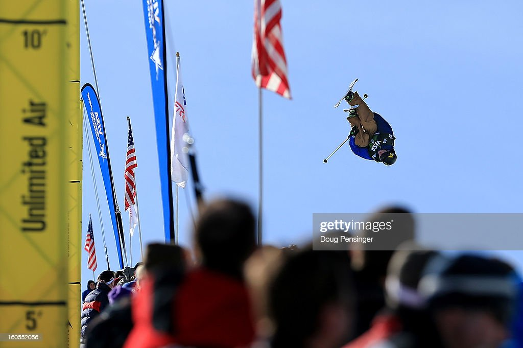 David Wise of the USA spins above the spectators as he won the FIS Freestyle Ski Halfpipe World Cup during the Sprint U.S. Grand Prix at Park City Mountain on February 2, 2013 in Park City, Utah.