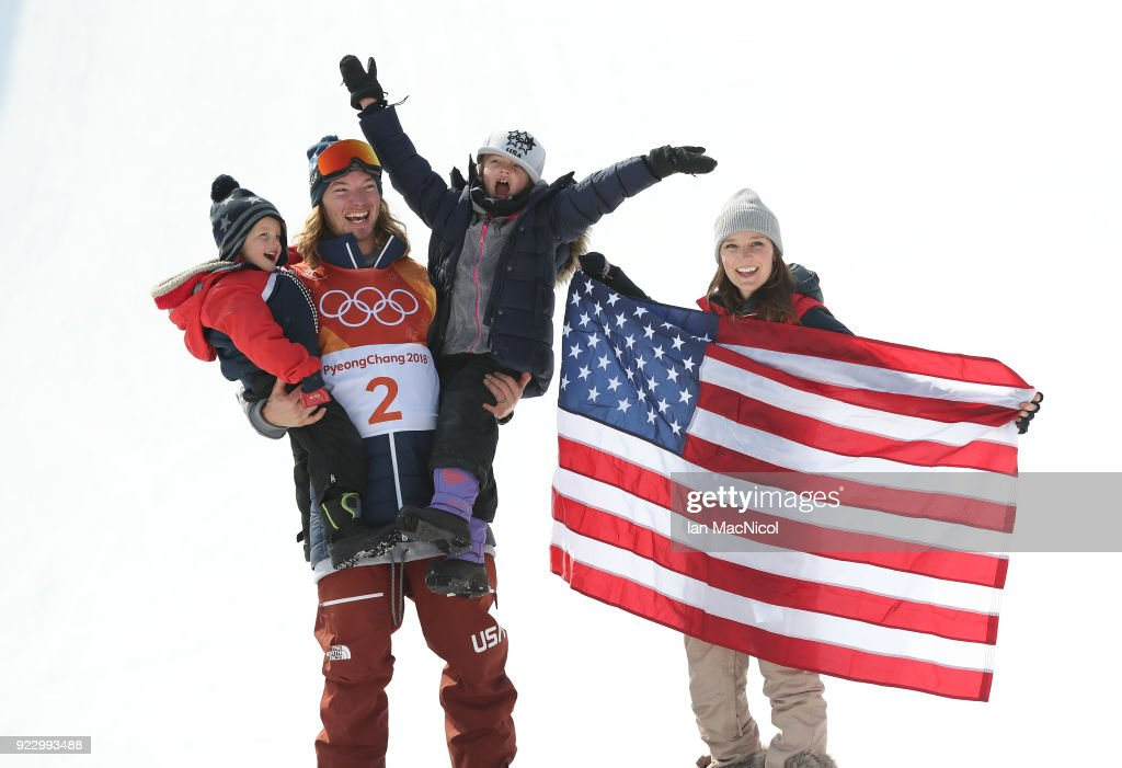 David Wise of United States is jointed on the podium by his son Malachi, daughter Nayeli and his wife Alexandra after he takes gold in the Men's Ski Halfpipe at Phoenix Snow Park on February 22, 2018 in Pyeongchang-gun, South Korea.