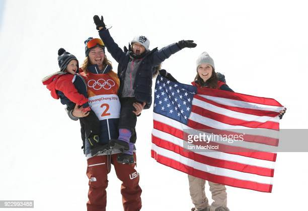 David Wise of United States is jointed on the podium by his son Malachi, daughter Nayeli and his wife Alexandra after he takes gold in the Men's Ski...