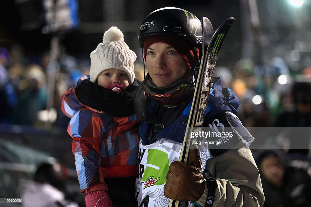 David Wise shares the spotlight with his daughter Nayeli, age 2, as Wise won the men's ski superpipe final at the Dew Tour iON Mountain Championships on December 14, 2013 in Breckenridge, Colorado.