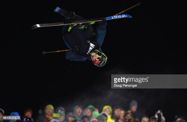 David Wise spins above the spectators en route to winning the men's Ski Superpipe final during Winter XGames 2014 Aspen at Buttermilk Mountain on...