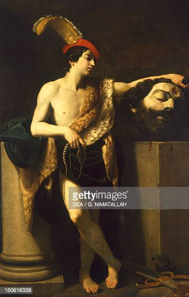 David with Goliath's head by Guido Reni oil on canvas 220x145 cm