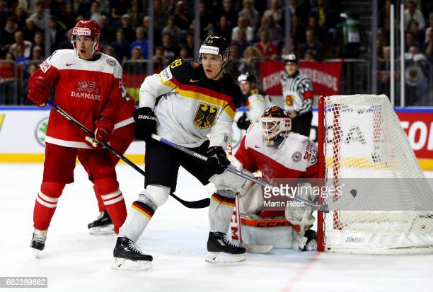 David Wolf of Germany in action during the 2017 IIHF Ice Hockey World Championship game between Denmark and Germany at Lanxess Arena on May 12 2017...