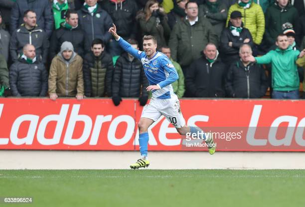 David Wotherspoon of St Johnstone celebrates after he scores his team's second goal during the Ladbrokes Scottish Premiership match between St...