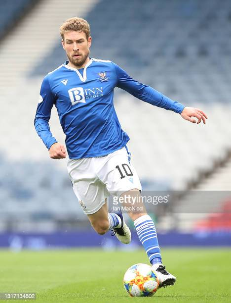 David Wotherspoon of St Johnstone controls the ball during the William Hill Scottish Cup match between St Mirren and St Johnstone at Hampden Park on...