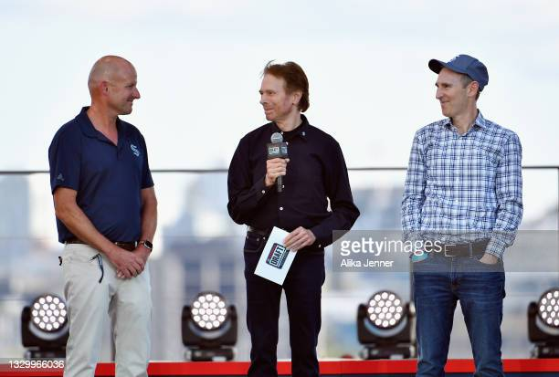 David Wright, Jerry Bruckheimer and Andy Jassy attend the 2021 NHL Expansion Draft at Gas Works Park on July 21, 2021 in Seattle, Washington. The...