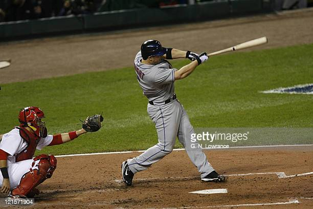David Wright of the Mets hits a home run during game 4 of the NLCS between the New York Mets and St Louis Cardinals at Busch Stadium in St Louis...
