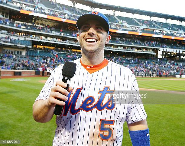 David Wright of the New York Mets addresses the fans after the final regular season game on October 4 2015 at Citi Field in the Flushing neighborhood...