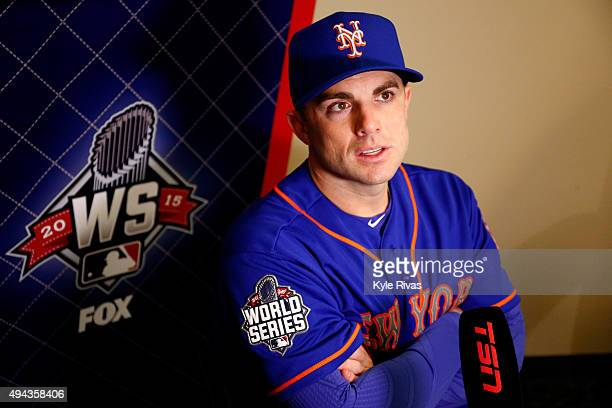 David Wright of the New York Mets addresses the media the day before Game 1 of the 2015 World Series between the Kansas City Royals and Mets at...