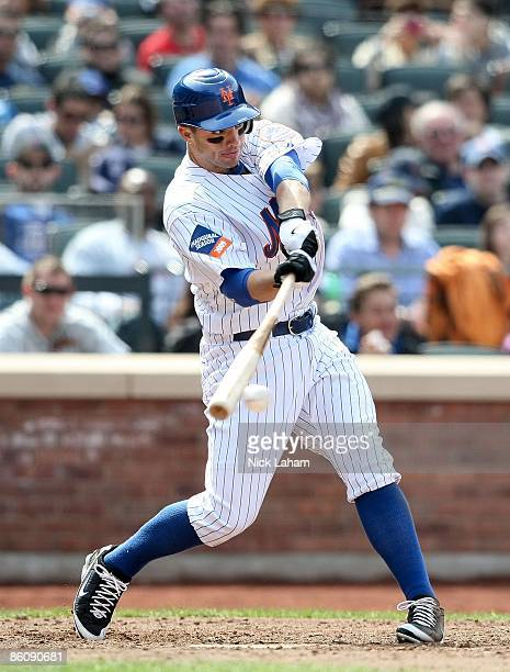 David Wright of the New York Mets at bat against the Milwaukee Brewers at Citi Field on April 19 2009 in the Flushing neighborhood of the Queens...