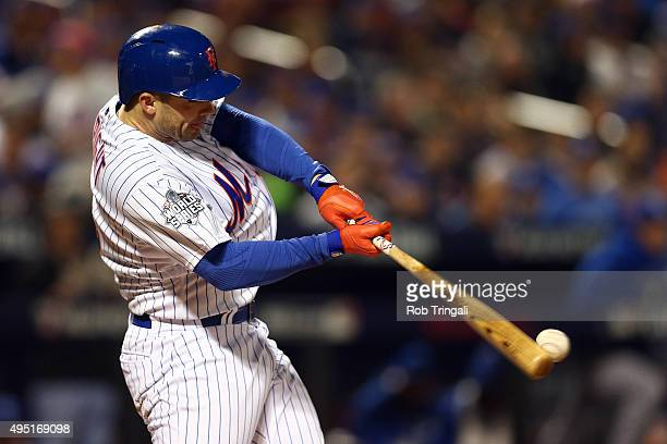 David Wright of the New York Mets bats in the first inning agains the Kansas City Royals during Game 4 of the 2015 World Series at Citi Field on...