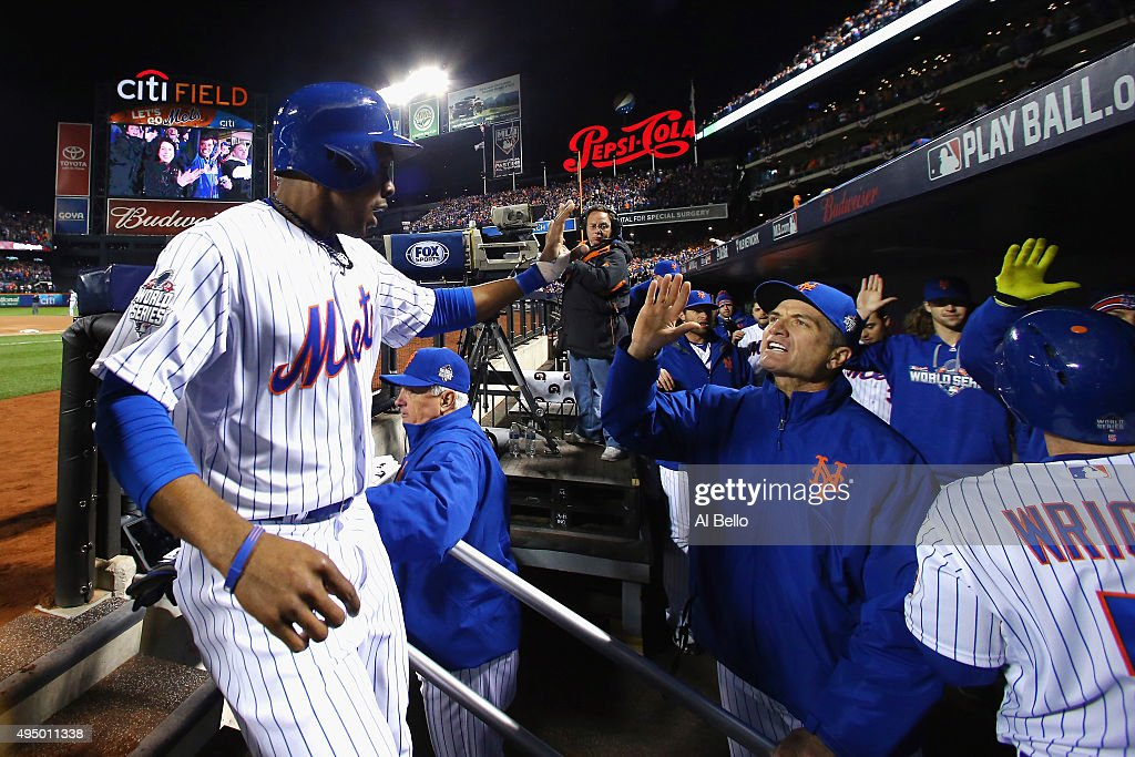 David Wright #5 of the New York Mets celebrates after hitting a two run home run in the first inning against the Kansas City Royals during Game Three of the 2015 World Series at Citi Field on October 30, 2015 in the Flushing neighborhood of the Queens borough of New York City.
