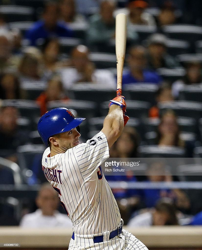 David Wright #5 of the New York Mets hits a single in the seventh inning against the San Francisco Giants on August 2, 2014 at Citi Field in the Flushing neighborhood of the Queens borough of New York City.