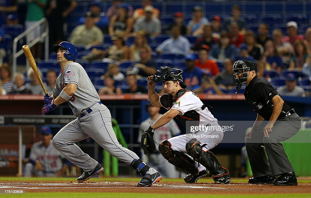 David Wright #5 of the New York Mets hits during a game against the Miami Marlins at Marlins Park on July 31, 2013 in Miami, Florida.