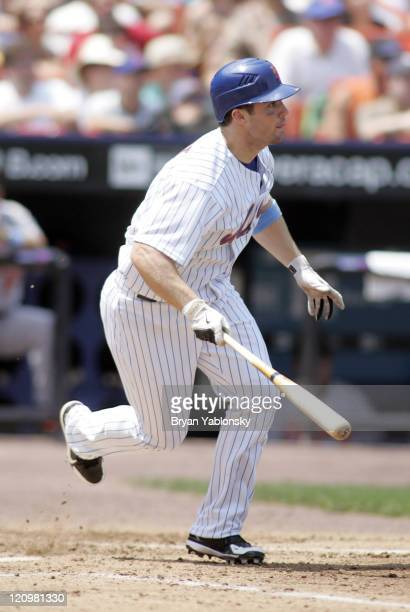 David Wright of the New York Mets hitting during regular season MLB game against Baltimore Orioles played at Shea Stadium in Flushing New York on...