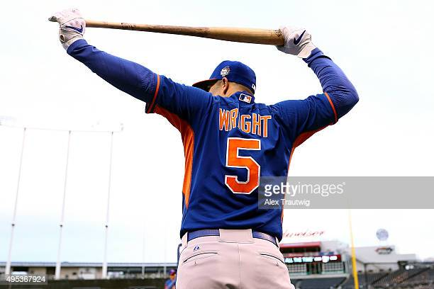David Wright of the New York Mets looks on during the 2015 World Series Media Day workouts at Kauffman Stadium on Monday October 25 2015 in Kansas...
