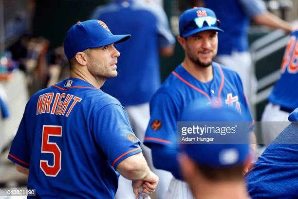 David Wright of the New York Mets looks on from the dugout after defeating the Miami Marlins at Citi Field on September 30 2018 in the Flushing...