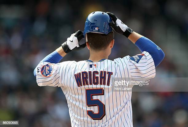 David Wright of the New York Mets on base against the Milwaukee Brewers at Citi Field on April 19 2009 in the Flushing neighborhood of the Queens...