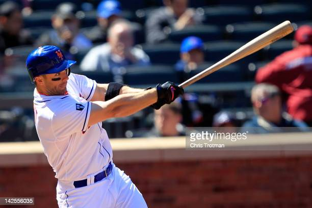 David Wright of the New York Mets singles on a line drive in the 3rd inning against the Atlanta Braves at Citi Field on April 7 2012 in the Flushing...