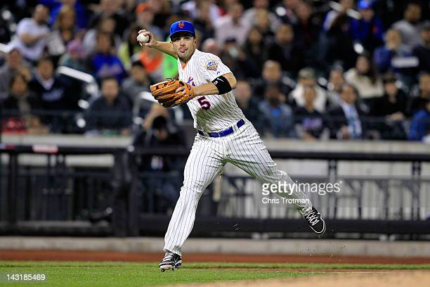 David Wright of the New York Mets throws to first base against the San Francisco Giants at Citi Field on April 20 2012 in the Flushing neighborhood...
