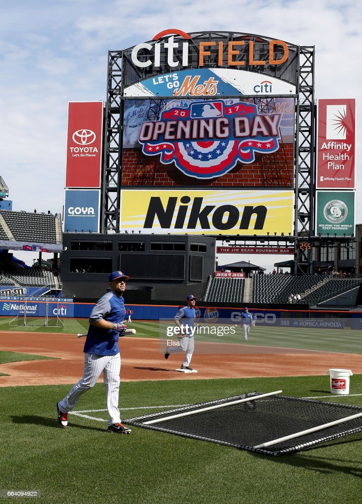 David Wright #5 of the New York Mets walks off the field after batting practice before the game against the Atlanta Braves during Opening Day on April 3, 2017 at Citi Field in the Flushing neighborhood of the Queens borough of New York City.