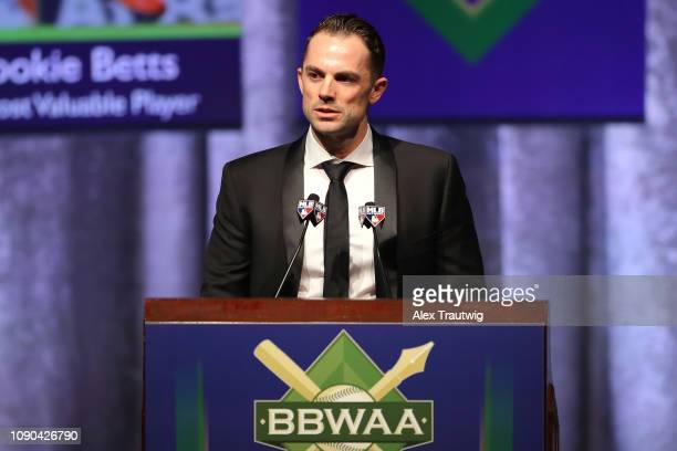 David Wright of the New York Mets winner of the Joe DiMaggio Toast of the Town award speaks during the 2019 Baseball Writers' Association of America...
