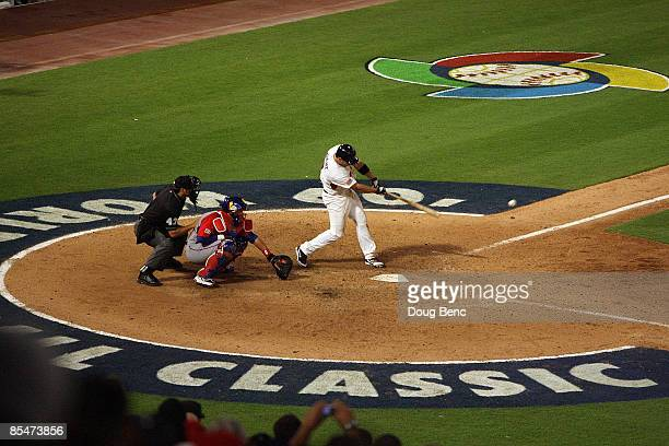 David Wright of United States gets the gamewinning hit in the bottom of the ninth inning against Puerto Rico during day 4 of round 2 of the World...
