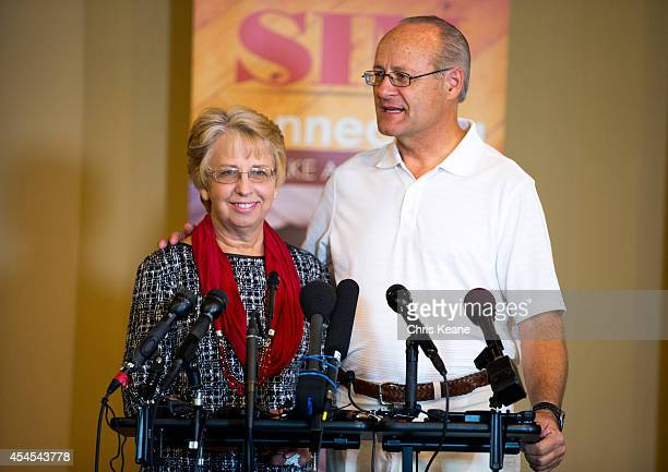 David Writebol speaks about his wife Nancy Writebol the SIM USA missionary who recovered from Ebola Virus Disease contracted in Liberia at a news...