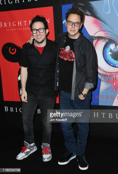 """David Yarovesky and James Gunn attend Sony Pictures' """"Brightburn"""" Photo Call at Four Seasons Los Angeles at Beverly Hills on May 18, 2019 in Los..."""