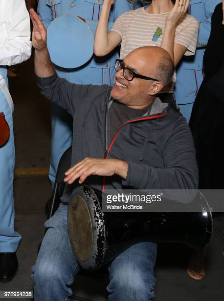David Yazbek with the Alexandria Ceremonial Police Orchestra during 'The Band's Visit' postshow jam celebrating the 10 time Tony Award winning best...