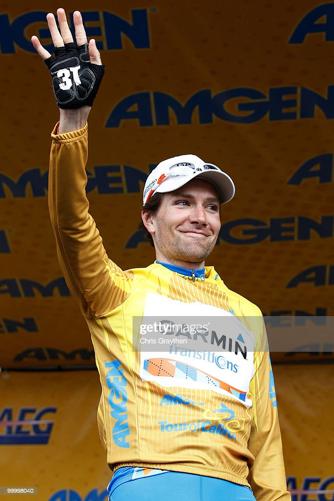 David Zabriskie of Garmin-Transitions celebrates on the podium after keeping the yellow leader's jersey after the fourth stage of the Tour of California on May 19, 2010 in Modesto, California.