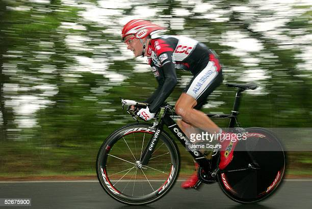 David Zabriskie of the U.S. And riding for Team CSC climbs a hill in the individual time trial as he finished second during stage three of the Tour...