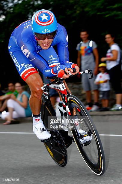 David Zabriskie of the USA riding for Garmin-Sharp races to 54th place in the individual time trial on stage nine of the 2012 Tour de France from...
