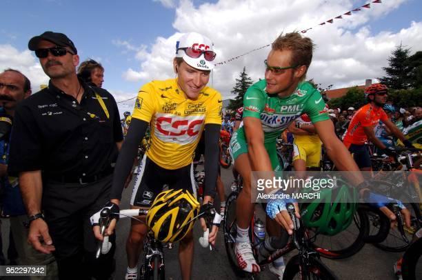 David Zabriskie Yellow jersey and Tom Boonen Green jersey