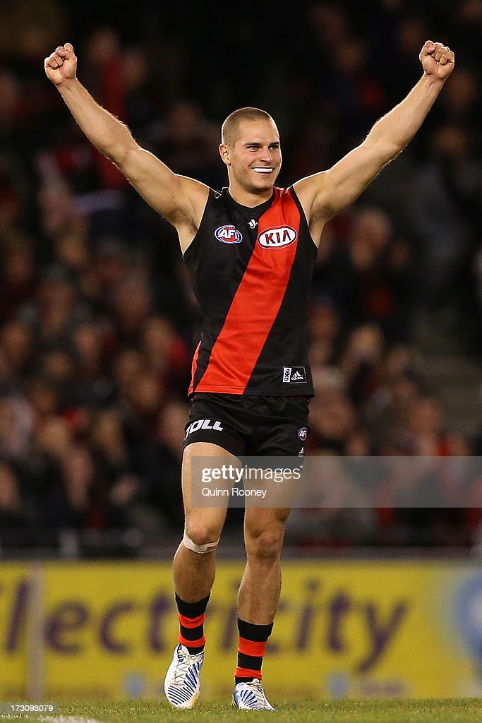 David Zaharakis of the Bombers celebrates kicking a goal during the round 15 AFL match between the Essendon Bombers and Port Adelaide Power at Etihad Stadium on July 7, 2013 in Melbourne, Australia.