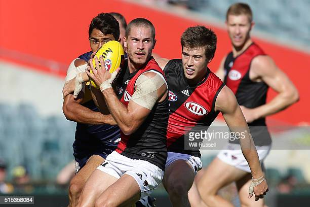 David Zaharakis of the Bombers controls the ball during the NAB Challenge AFL match between the West Coast Eagles and the Essendon Bombers at Domain...