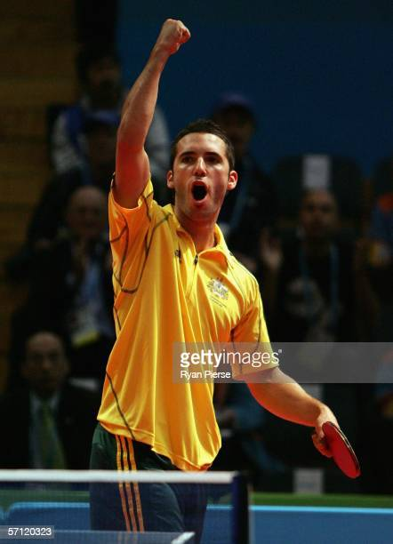 David Zalcberg of Australia celebrates victory during his Men's Team match against Peter Graham of Northern Ireland at the Melbourne Sports Aquatic...