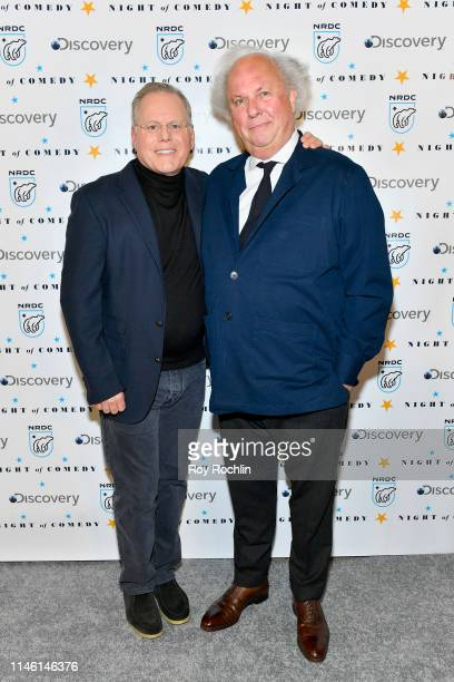 David Zaslav and Graydon Carter attend NRDC's Night of Comedy Benefit in partnership with Discovery Inc hosted by Seth Meyers on April 30 2019 in New...