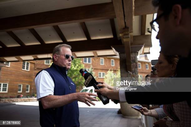 David Zaslav chief executive officer of Discovery Communications speaks to reporters on the first day of the annual Allen Company Sun Valley...